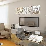 Demiawaking DIY 28Pcs 3D Spiegel Aufkleber Acryl Wandsticker fuer Haus Dekor (Silber)