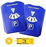 2er Set Parkscheibe Parkuhr fürs Auto mit Einkaufswagenchip, Reifen-Profilmesser, Gummilippe, Eiskratzer - Blau