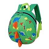 Luerme Kinderrucksack Kleinkind Jungen Mädchen Kindergartentasche Niedlich Dinosaurier Backpack Schultasche Rucksack mit Zugseil (Grün)