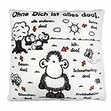 Sheepworld 42378 Plüsch-Kissen mit Spruch Ohne Dich ist alles doof, kleines Zier-Kissen, 25 cm x 25...