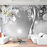 Fototapete Blumen Lilien Schwarz Weiß 352 x 250 cm Vlies Wand Tapete Wohnzimmer Schlafzimmer Büro...