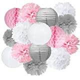 Pompoms Deko Furuix 15pcs rosafarbenes graues weißes...