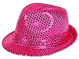 Clubstyle Partyhut Trilby Hut Blink Fedora Bogart Glitzerhut Glitter, Farbe wählen:TH-55 pink