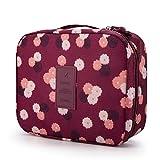 Rusty Bob - Kosmetiktasche für Reisen | Große Kulturtasche | Kulturbeutel | Waschbeutel | Kulturtasche Bad-Tasche | Damen und Herren - Weinrot mit Blumen
