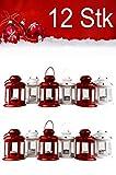 MAADES Weihnachtslaterne, 12er SET, Windlicht Laterne für Weihnachten, kleine Laternen für draußen, aus Metall und Glas, Windlichter als Weihnachtsdeko, 13cm hoch, als Beleuchtung oder Dekoration, für Kerzen & Teelichter, in 2 Farben