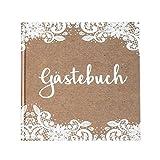 Gästebuch zur Hochzeit Kraft mit weißer Spitze Kraftpapier braun weiß 21 x 21 cm, 144 Seiten...