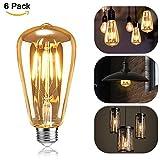 Edison Vintage Glühbirne, Mixigoo Edison LED Lampe E27 4W Retro Glühbirne Warmweiß Antike...
