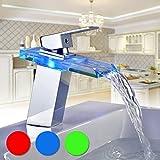 Auralum Led Waschtischarmatur Wasserfall Glas Wasserhahn mit RGB Farbewechsel Bad Badezimmer...
