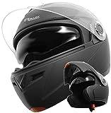 Klapphelm Integralhelm Helm Motorradhelm RALLOX 910 schwarz/matt mit Sonnenblende (XS, S, M, L, XL) Größe XL