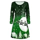 Weihnachtskleid Damen Btruely Mädchen Weihnachten Print Langarm Kleid Frauen Abendgesellschaft...