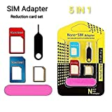 Sim Card Adapter, Click2u 5 in 1 Nano SIM Card Adapter Converter to Micro & Standard SIM Card...