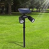 [Upgraded 350Lumen] Gartenleuchten 6LED Außenbeleuchtung Weißes Helle Solarleuchten Verstellbare Lampen nicht nur für den Boden auch für Wände Wasserdicht Spotlight für Garten Outdoor Landscape Yard Rasen Pathway