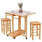 COSTWAY Küchentisch auf Rollen + 2 Stühle Essgruppe Sitzgruppe Esstisch Küchenwagen klappbar