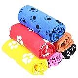 Pecute Weiche Haustierdecke Hundedecke Katzendecke mit Pfoten-Druck Decken Matten für Hunde Katze, 60 X 70cm, Farbe Zufällig