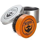 BEARDED BEN Bartbürste mit Wildschweinborsten und hochwertiger Aufbewahrungsbox für professionelle Bartpflege | teakbraun, Durchmesser: 5 cm | mit 2 Jahren Zufriedenheitsgarantie