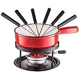 Style'n Cook Käsefondue Eisenguss Set 9-teilig rot