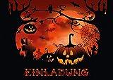 'NACHTS AUF DEM FRIEDHOF': 12-er Set gruselige Halloween-Einladungskarten: Einladungen zur nächsten Halloween-Party von EDITION COLIBRI © - umweltfreundlich, da klimaneutral gedruckt