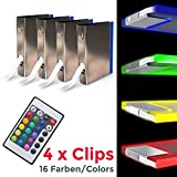 B.K.Licht LED Glasbodenbeleuchtung 4er Set LED Clips LED Vitrinenbeleuchtung Schrankbeleuchtung...