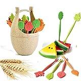 Bazaar 16pcs grüne biologisch abbaubare natürliche Weizen Stroh Blätter Obstgabel gesetzt Kuchen...