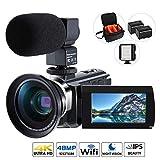 4K Camcorder Videokamera,Cofunkool VlogCamera 48MP Ultra HD Wifi IPS Touchscreen IR-Nachtsicht 16X...