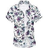 Herren Sommerhemd Hawaiihemd Kurzarm Hemd Blatthemd Freizeit Hemd besonders für Reise Urlaub
