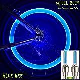 Wheel-Bee LED Fahrrad Ventillicht, Blau - 2 Stk, wertiges Alu Gehäuse, Reifen-Licht, Ventilkappe,...