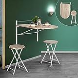 An der Wand hängender, zusammenklappbarer Holztisch mit Klappstuhl von Innovareds, länglicher...
