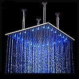 BONADE 50x50 LED Quadratische Einbau-Duschkopf Regenduschkopf Regenbrause Dusche mit 3 Farben...