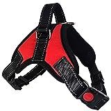 Lantra Besa Hochwertige Hundegeschirr Harness Weste für Kleine / Mittlere / Große Hunde - Verstellbar Reflektierend und Gepolstert Typ 1 - Rot, M