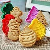 ElecMotive 4 teilige Weihnachts-Plätzchenausstecher Cookie Cutters Plätzchenformen Backformen Fondant Keks Ausstechformen Set in Geschenkkarton