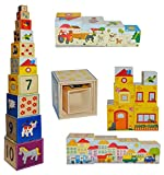 10 tlg. Set Stapelturm aus Holz groß - mit Tieren, Zahlen, Haus Motiven - Pyramide Stapelspiel Kind