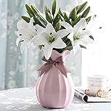 Künstliche Blumen Weiße Lilie,GKONGU 4 Stück Realistisch Blumensträuße Natürliche Lilie mit 3...