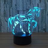 3D Illusionslampe Trojanische Pferdeform 7 Farbtastenschalter LED Nachtlichter 150cm USB-Kabel Kinderbeleuchtung für Baby Sleeping Nightlights