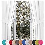 Bestlivings Raffhalter 2er Pack für Dekoschal Schlaufenschal Vorhang, Auswahl: weiß - perlweiß