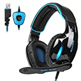 SADES SA902 USB Gaming Headset 7.1 Virtual Surround Stereo Sound über Ohr Kopfhörer Gaming Wired...