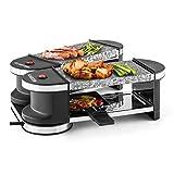 Klarstein Tenderloin Mini Raclette-Grill 360°-Basisstation 2 heißer Stein Grillplatte aus Granit für 4 Personen Kompaktgrill Partygrill (600 Watt Heizleistung, inklusive 4 Pfännchen + Pfannnenwender)