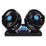 Doppellüfter 12 Volt Ventilator,2 Geschwindigkeiten Einstellbar Auto Lüfter 360 Grad Manuelle...