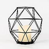 Innen Metall Käfig Laterne mit Echtwachs LED Kerze, 20cm, von Festive Lights