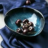 Kreativer blauer keramischer Schüssel-Tafelsilber-Ramen-Schüssel-Frucht-Platte