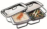APS Edelstahl Speisenwärmer 45 x 29 x 12cm, mit zwei Deckeln und zwei 1,5L Servierschalen aus Glas, 2 Stövchen verchromt