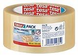 tesapack Ultra Strong Packband Transparent / Durchsichtiges Paketband aus PVC von tesa mit besonders starker Klebekraft / 66 mm x 50 mm