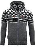 Reslad Herren Grobstrick Norweger Pullover Winter Strickjacke Kapuzenpullover RS-3104 (XL,...