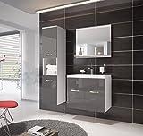 Badezimmer Badmöbel Montreal 60 cm Waschbecken Hochglanz Grau Fronten - Unterschrank Hochschrank...