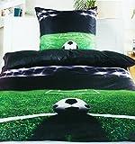 Fußball Bettwäsche ca. 135x200 cm + ca. 80x80 cm für absolute Fußballfans Farbe (grün schwarz)