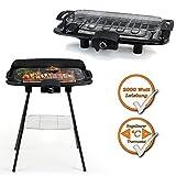 2in1 Barbecue Grill Stand-und Tischgrill in einem, 2000Watt Leistung, regelbarer Thermostat, schwarz