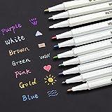 INIBUD Metallic Marker Pens, Satz von 10 Farben für Kartenherstellung DIY Fotoalbum Gebrauch auf...