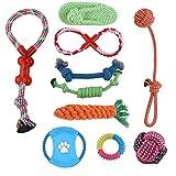 MIRX Hundespielzeug Set, 10 Stück Seil und quietschende Spielzeuge Kauen Haustier Hund Spielzeug Geschenk,Zahnreinigungs Spielzeug für kleine medium Große Rassen