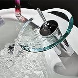 inchant Wasserfall Badezimmer Waschbecken Einhebelmischer Wasserhahn rund offen Glas Auslauf WC...