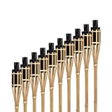 Hussala Turin Öl Bambusfackeln Länge 100 cm Garten-Fackeln - 10 Stück