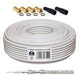 10m 130dB Koaxial Kabel HB-DIGITAL Set SAT-Kabel inkl. 4 F-Steckern vergoldet und 2 Schutztüllen,...